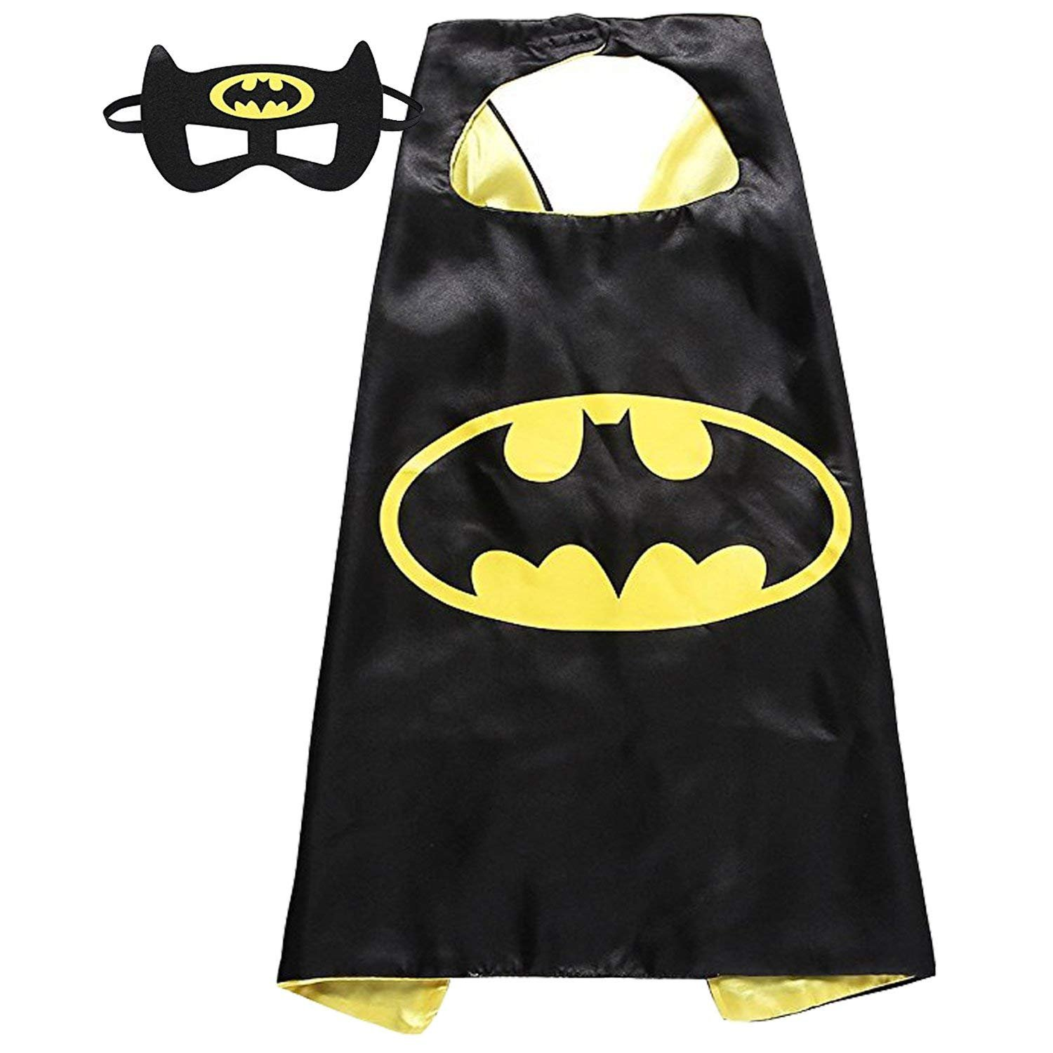 Comics Cartoon Hero Dress up Satin Capes with Felt Mask 4 Costume Sets for Kids with Bonus Stickers and Tattoo