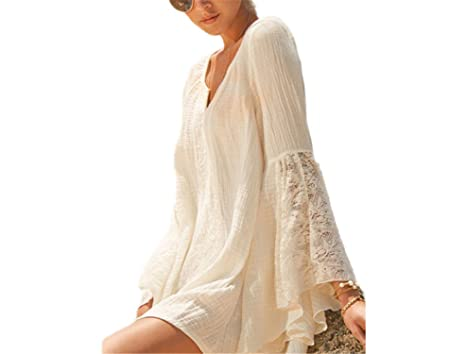 Ivan Johns Dresses Fashion Women Elegant Bohemia Linen Dress Ladies Stylish Sexy V Neck Lace Flare
