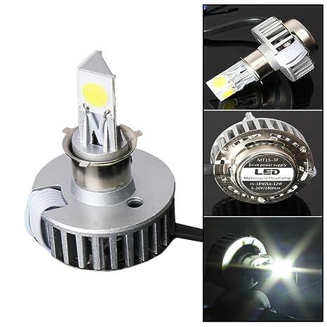 Audew Bombilla LED universal para faro delantero de moto (H4, 6-36 V