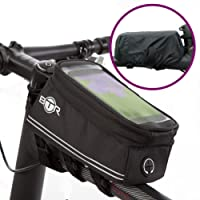 BTR Bicycle Frame Bike Bag & Mobile Phone Holder GEN4 – with Option to add Waterproof Cover To Protect ALL Your Valuables From The Rain – Fits ALL Bikes