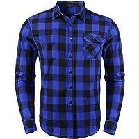 Sykooria Camisas a Cuadros de Franela para Hombre, Blusa de Manga Larga, Cuadros clásicos, Blusas con Estilo Casual…