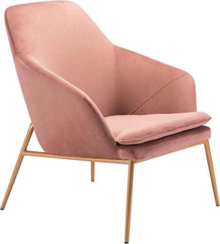 Zuo Arm Chair, Pink Velvet