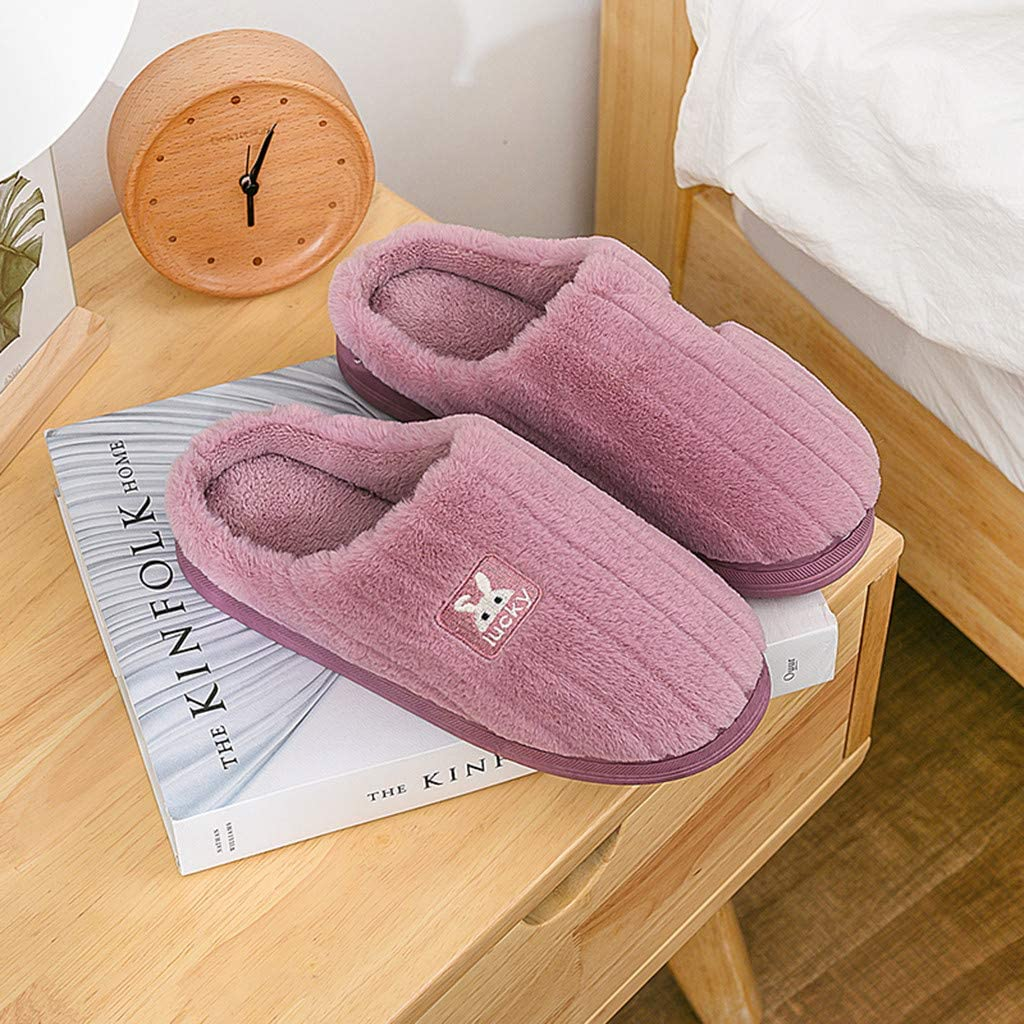 Dainzuy Womens Fuzzy Slippers Coral Plush House Shoes Anti-Skid Floor Home Bedroom Shoes Slip On Indoor Outdoor