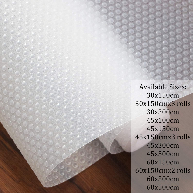 Hersvin 45x150cm Alfombra Antideslizante de EVA para Cajon, No Adhesivo, Impermeable Antibacteriano Proteger Estantes, Cocina Gabinete, Refrigerador, Mesas (Transparente/Puntos, 45X150cm)