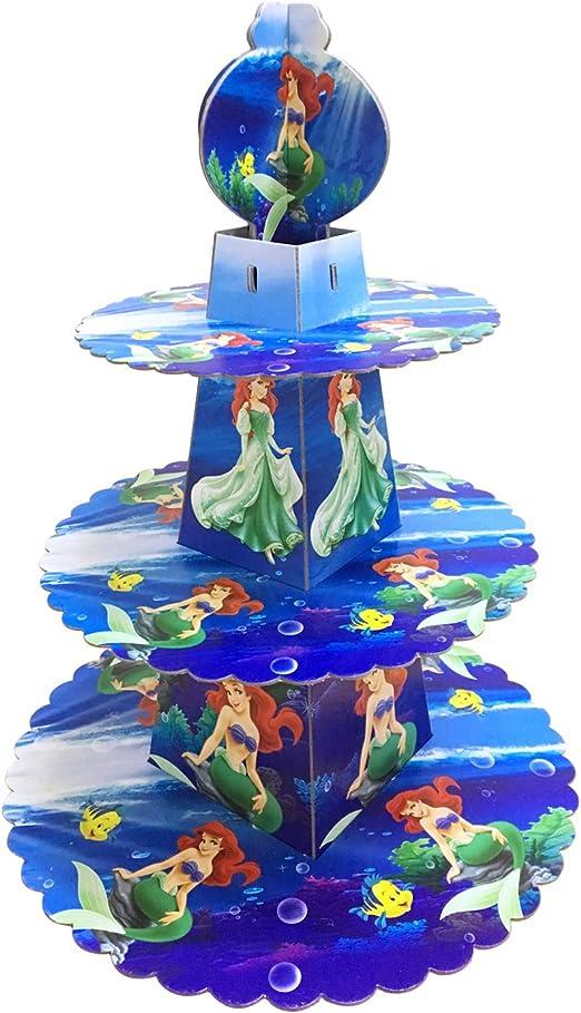 Amazon.com: Soporte para cupcakes con forma de sirena, de 3 ...