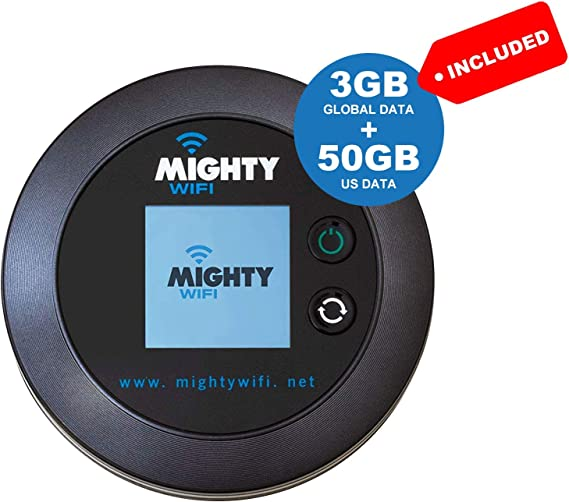 MightyWifi Worldwide high Speed Hotspot with US 50GB & Global 3GB Data for 30 Days, Pocket Mifi, Personal, Reliable, Wireless Internet, Router, No Sim ...