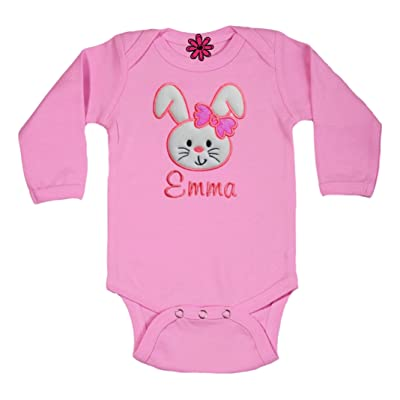 Funny Girl Designs Embroidered Easter Bunny Glitter Bow Onesie