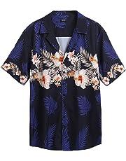 COOFANDY Men's Hawaiian Shirt Flamingos Casual Short Sleeve Aloha Shirts