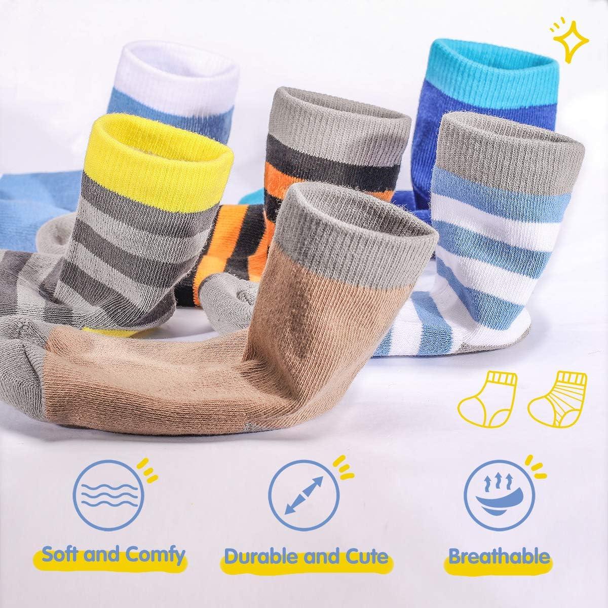FLYRUN 10 Pairs Toddler Boy Crew Socks Kids Cushion Dress Socks