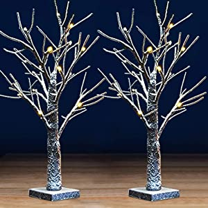 """Bright Zeal [Pack of 2 18"""" Tall White Birch Tree with Lights and Faux Snow - LED Birch Tree Light Up Tabletop Decor - Decorative Table Top Birch Tree Snow Tree Decor Artificial Birch Trees Home Decor"""