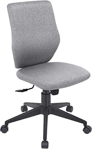Bowthy Armless Office Chair Ergonomic Computer Task Desk Chair Without Arms Mid Back Fabric Swivel Chair Gray