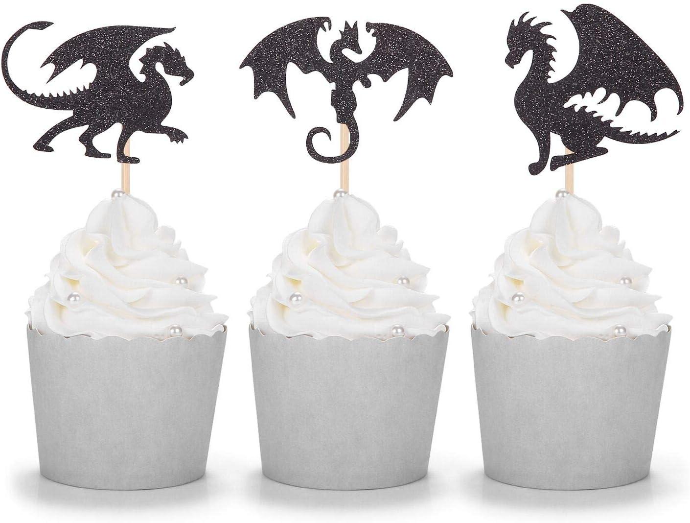 24 CT Black Glitter Dragon Cupcake Toppers Fantasy Party Dessert Picks Fairy Tale Decoration