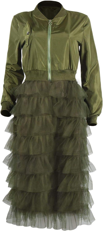 Tulle Mesh Patchwork Long Sleeve Zipper Coat Jackets Dress ECHOINE Women Casual Bomber Jacket