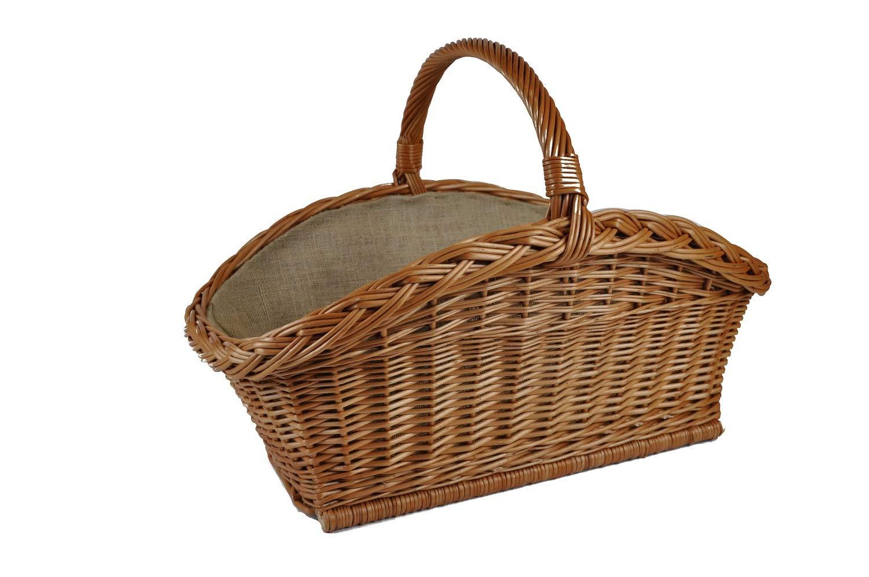 Cesta para leñ a de mimbre Asa de cesta para madera reforzado con forro de yute trenzado K12 –  206 unbekannt