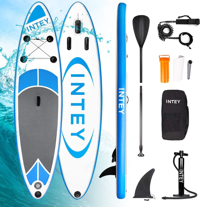 INTEY Tabla Paddle Surf Hinchable 305×76×15cm, Sup Paddle Remo Ajustable,Tabla Stand Up Paddle Board ,Bomba de Doble,Seguridad Bolsa y Kit de reparación, para Surfear Practicar Remo Yoga Acuático