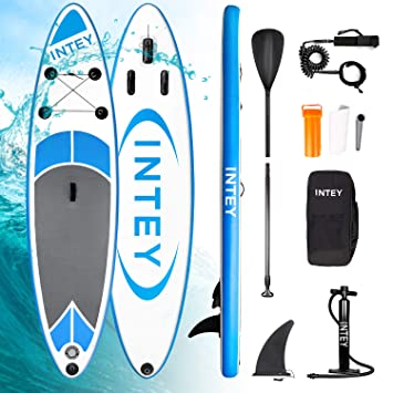 INTEY Tabla Paddle Surf Hinchable 305×76×15cm, Sup Paddle Remo Ajustable,Tabla Stand Up Paddle Board ,Bomba de Doble,Seguridad Bolsa y Kit de ...