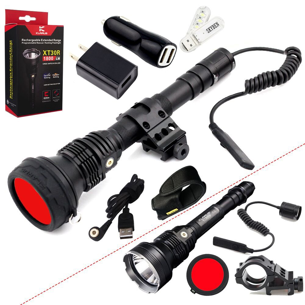 Klarus XT30R Hunting Kit CREE XHP35 HI D4 LED 1800 Lumens 18650 Rechargeable Hunting Flashlight with Rail Mount,Dual Remote Switch ,Red Filter,SKYBEN Adaptor,Car Charger and USB Light