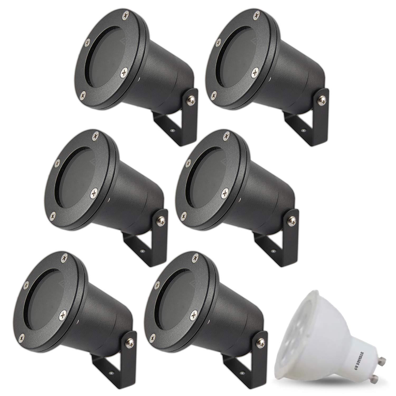 6er Set Garden LED Spotlights Dimmable 230 V IP65 (Black) x 6 W LED Warm White Socket GU10 Base Round Floor Light Garden Light Pond Light Modern Set of 8