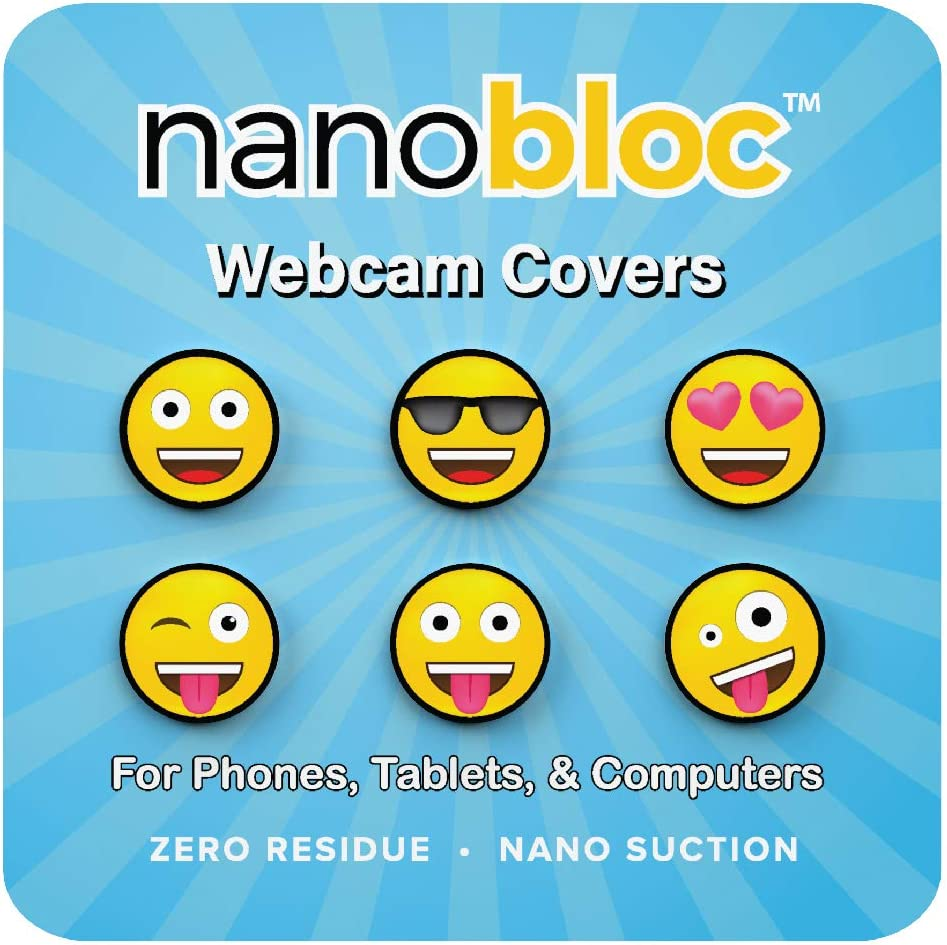 Eyebloc NanoBloc Webcam Cover - Universal Reusable Camera Cover for All Devices - Safe Screen Closure, Strong Nano Suction No Residue (6-Pack, Fun Emojis)