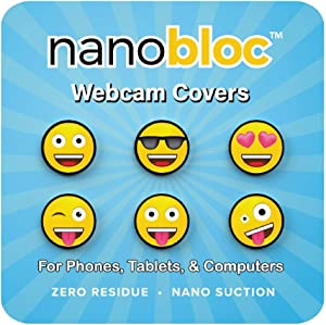 Eyebloc NanoBloc Webcam Cover - Universal Reusable Camera Cover for All Devices - Safe Screen Closure, Strong Nano Suction No Residue (6-Pack, Fun Emojis)