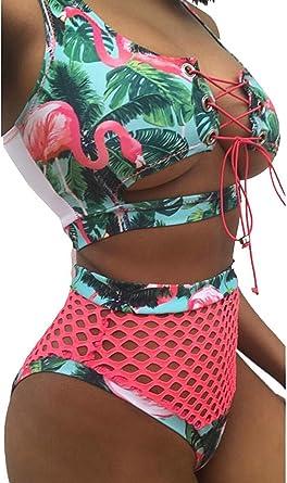 fda8eb7c723ba tengweng Women African Print Two Piece Lace Up Bikini High Waist Mesh  Cutout Thong Swimsuit S