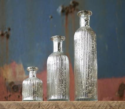 Botella de cristal plateado envejecido Set (X3) – Leya por Nkuku