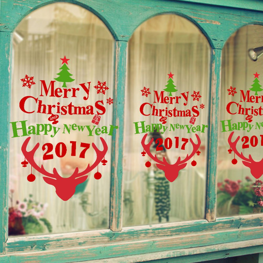 Rain's Pan Cartoon Merry Christmas Santa Claus Decorations Decal Window Stickers by Rain's Pan Decals (Image #2)
