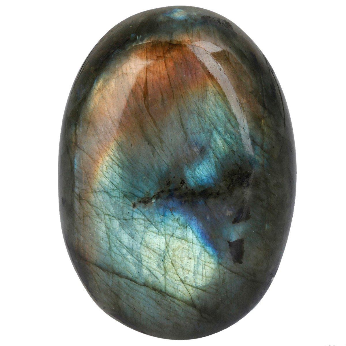 mookaitedecor Natural Labradorite Palm Stone Crystal Healing Gemstone Worry Therapy Irregular Shape by mookaitedecor