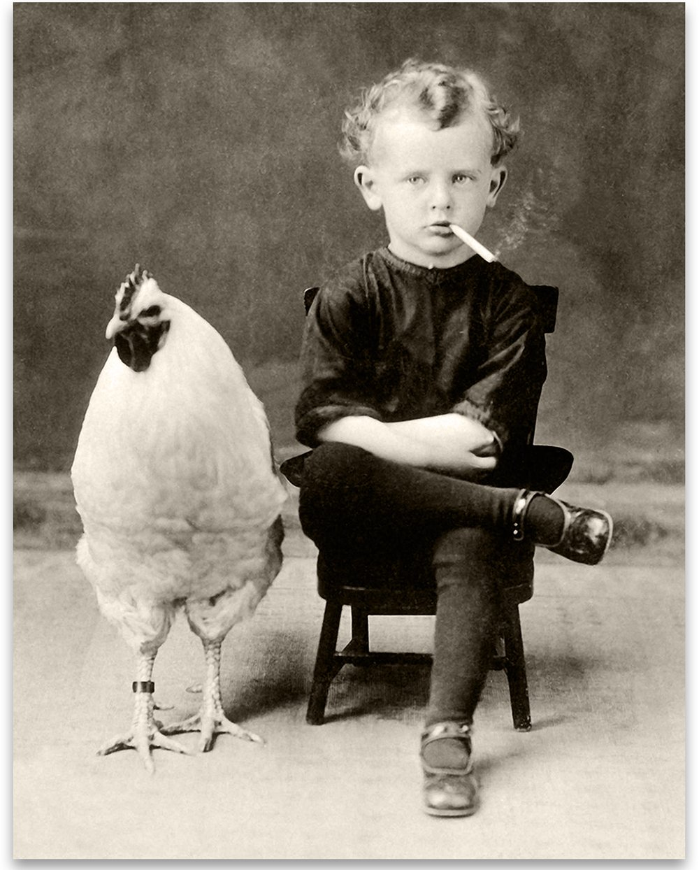 Lone Star Art Bizarre Strange Weird Boy Smoking Cigarette with Giant Chicken - 11x14 Unframed Print - Perfect Vintage Home Decor