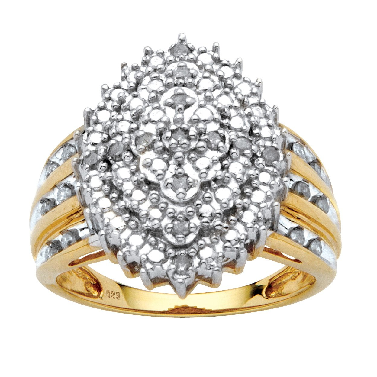 White Diamond 18k Gold over .925 Silver Marquise Cluster Ring (.35 cttw, HI Color, I3 Clarity) Size 8