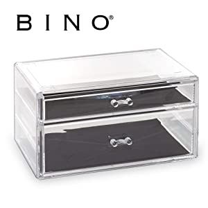 BINO 2 Drawer Acrylic Jewelry and Makeup Organizer, Clear Cosmetic Organizer Vanity Storage Display Box Make Up Organizers and Storage Makeup Stand