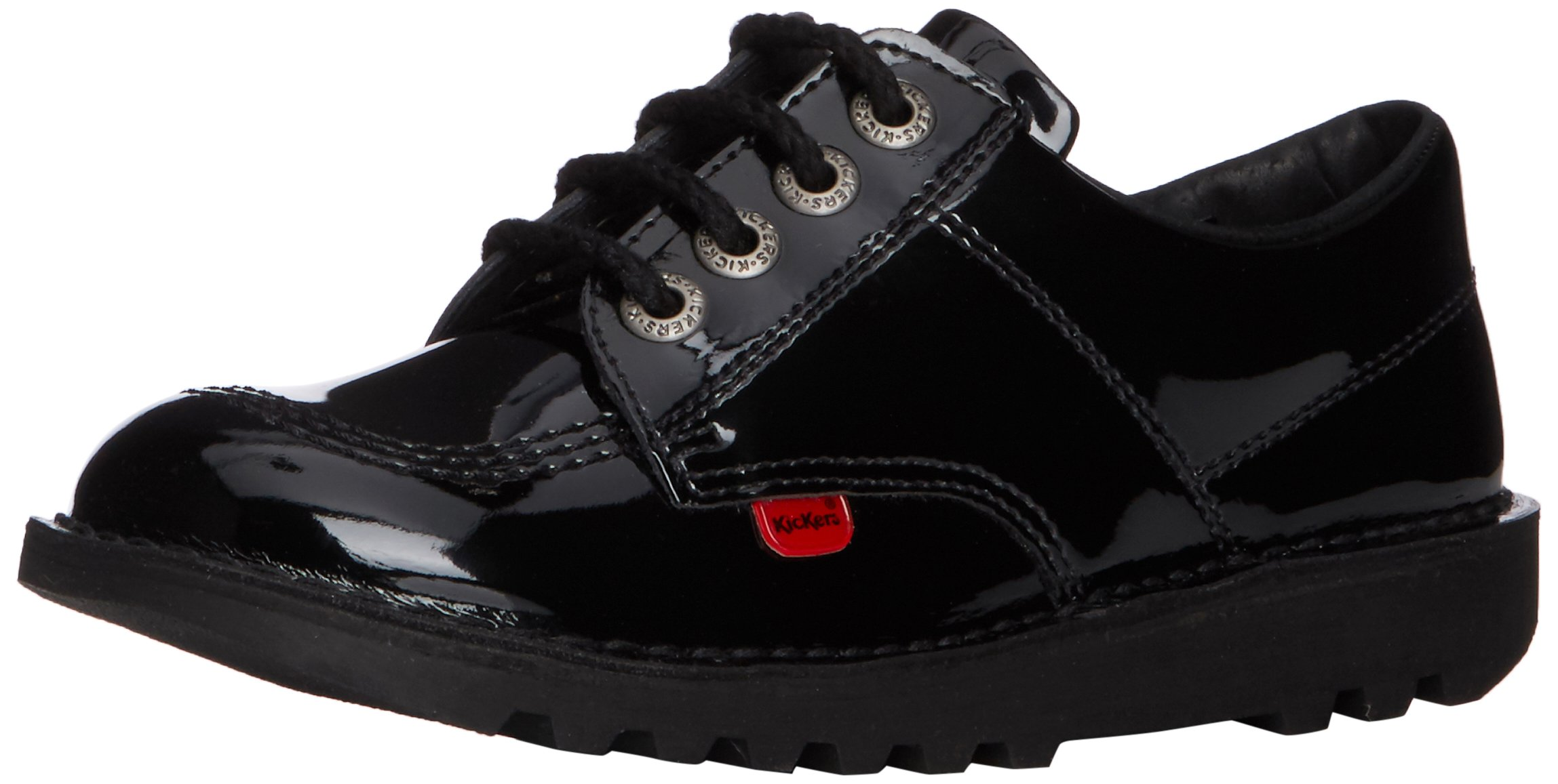 Kickers Womens Kick Lo Core Lace Up Work Office Patent Black Shoes - Black/Black - 8.5