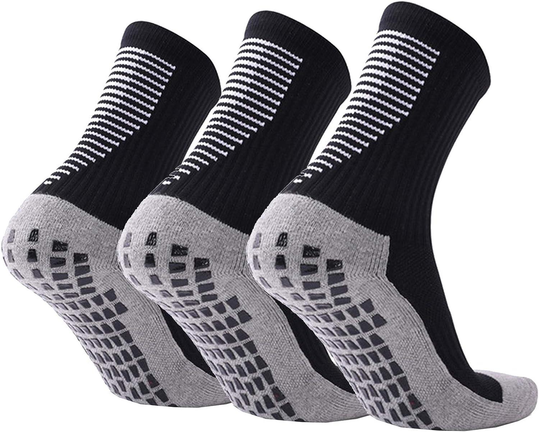 TENEMT 3 Pair Mens Anti Slip Soccer Socks,Non Slip Football Basketball Athletic Socks with Grips