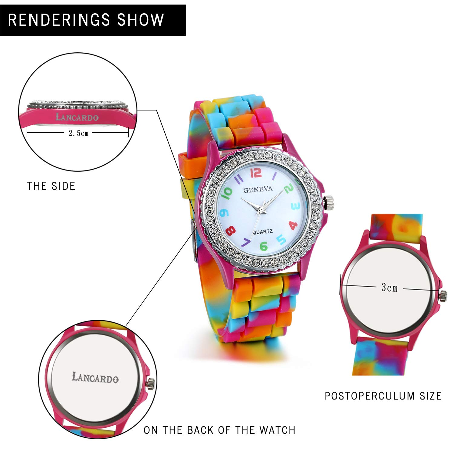 82356fa709919 Amazon.com: Lancardo Rhinestone Rainbow Color Silicon Jelly Fun Play Watches  for Women - Rose Red: Watches