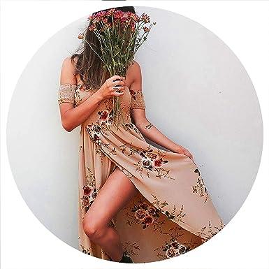 9cb2870eaef2 Image Unavailable. Image not available for. Color: Style Dress Women Off  Shoulder Beach Dresses Floral Print Vintage Maxi Dress Vestidos ...
