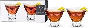 Viski 5249 Raye Gem Crystal Martini Glasses, Set of 2