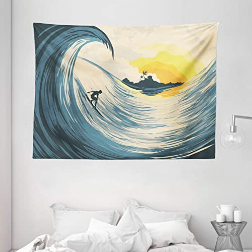 Ambesonne Ocean Tapestry, Illustration of Cloudy Sky Tropical Island Wave and Surfer at Sunset Seascape, Wide Wall Hanging for Bedroom Living Room Dorm, 80 X 60 , Beige Yellow