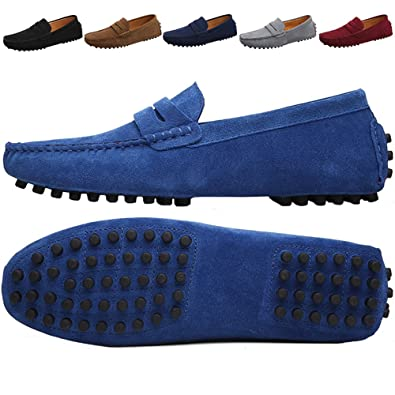 d8f137fdff JIONS Mens Driving Shoes Suede Leather Loafers Casual Slip On Moccasins  Classic Boat Shoes Navy Blue