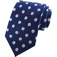 L04BABY New Classic Polka Dot White Blue Jacquard Woven 100% Silk Men's Tie