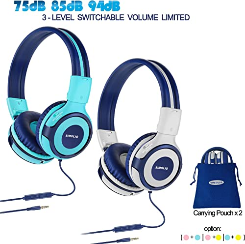 2 Pack of Durable Kids Headphone with 75dB,85dB,94dB Volume Limited, Kids Friendly Headphone with Share Port, Children Headphones for School, On-Ear Kids Headphones for Girls, Boys Mint,Grey