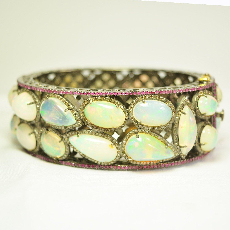 Christmas Sale Handmade Opal Gemstone 4.80 ct Diamond Gold Bangle. 92.5 Sterling Silver Pave Diamond Opal & Ruby Gemstone Bangle