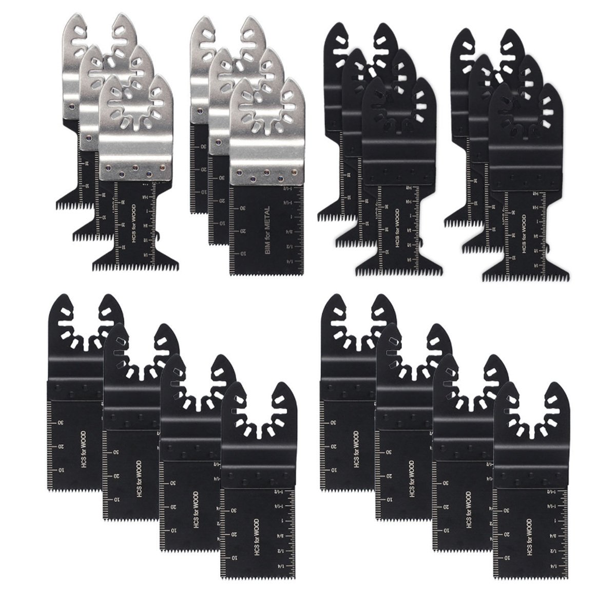 20 Mix Metal/wood Quick Release Oscillating Multitool Saw Blades Kit Fit Bi-Meta Blades Ideal for Fein Multimaster Porter Cable Black & Decker Bosch Ryobi Milwaukee Bosch Dremel Dewalt Rockwell Makita