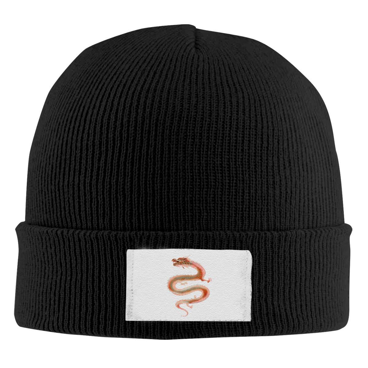 Skull Caps Dragon Winter Warm Knit Hats Stretchy Cuff Beanie Hat Black