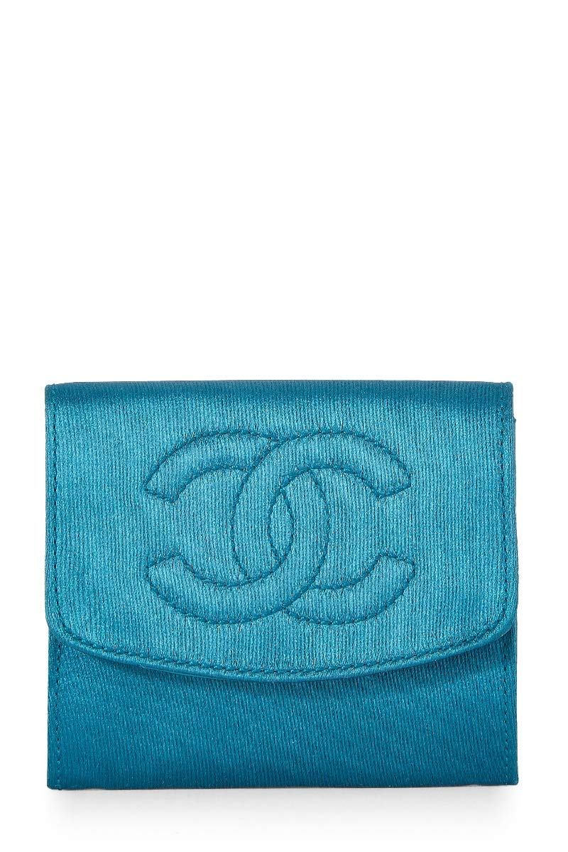 CHANEL Teal Silk Card Holder (Pre-Owned)