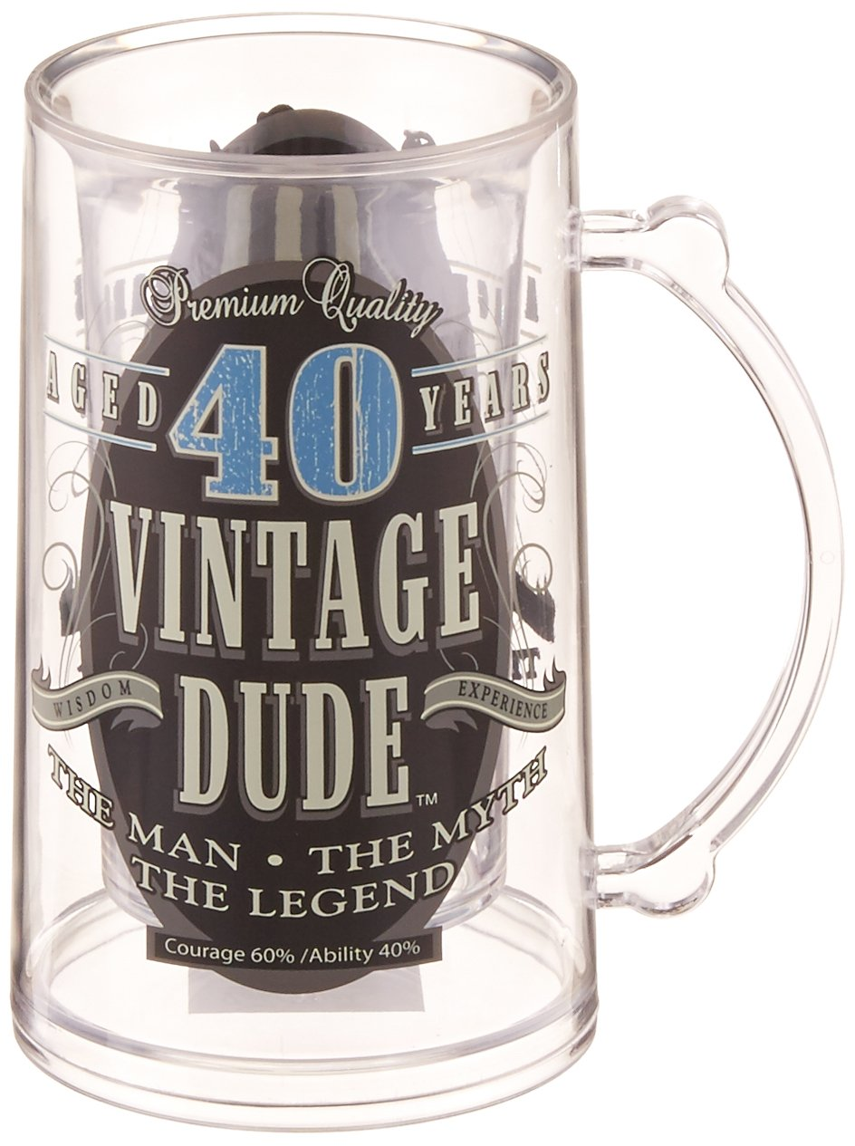 Laid Back CF11002 40th BD Vintage Dude Tankard, 14-Ounce