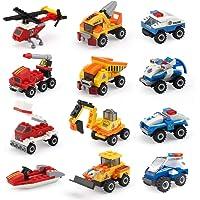 12-Pack EAHUMM Mini Building Blocks Cars Toys Sets