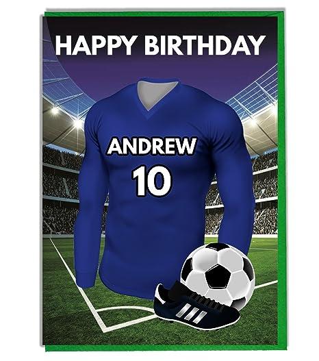 Personalizado fútbol temática Tarjeta de cumpleaños para ...
