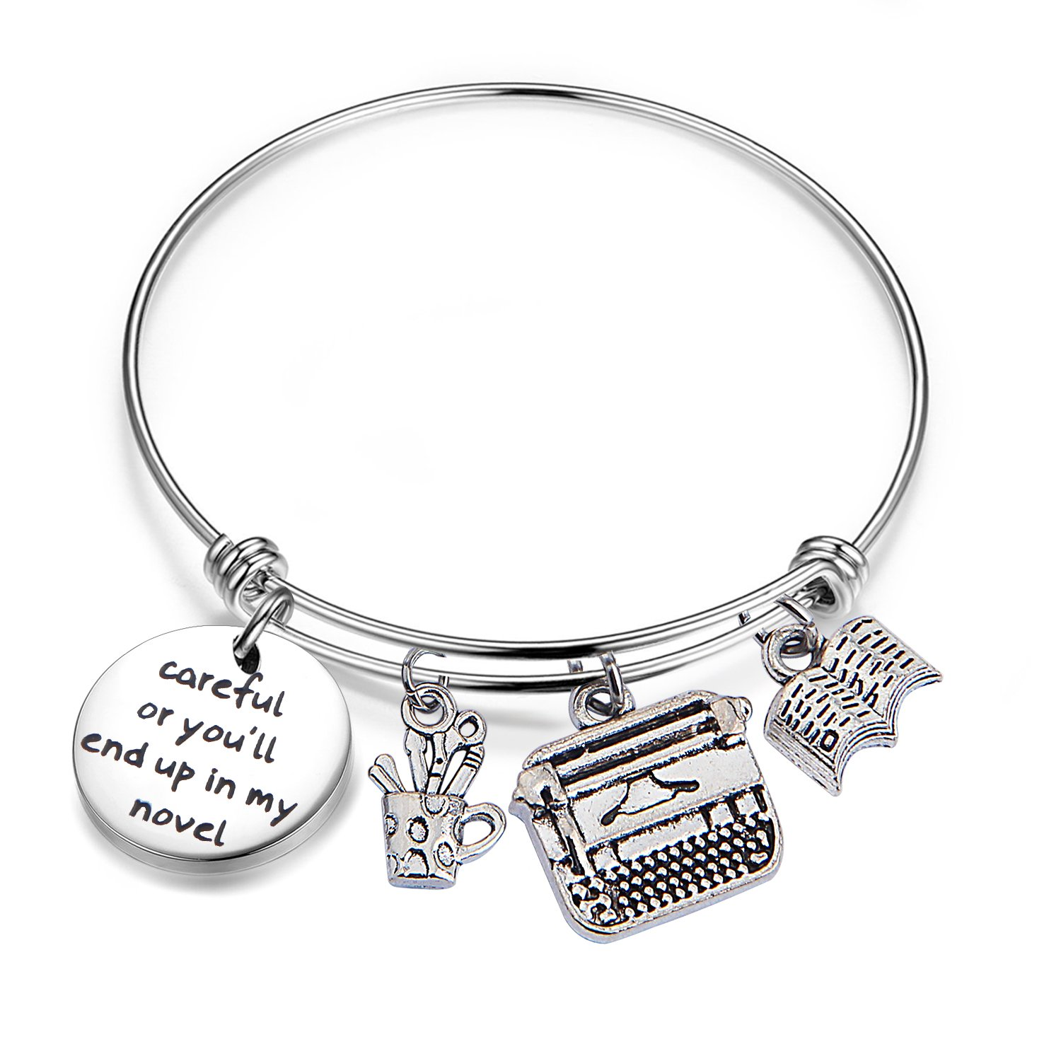 Gzrlyf Writer Bracelet Author Bracelet Writer Gift Novelist Gift Careful Or Youll End Up In My Novel Jewelry Writing Gift Author Jewelry (Writer bracelet) by Gzrlyf (Image #1)