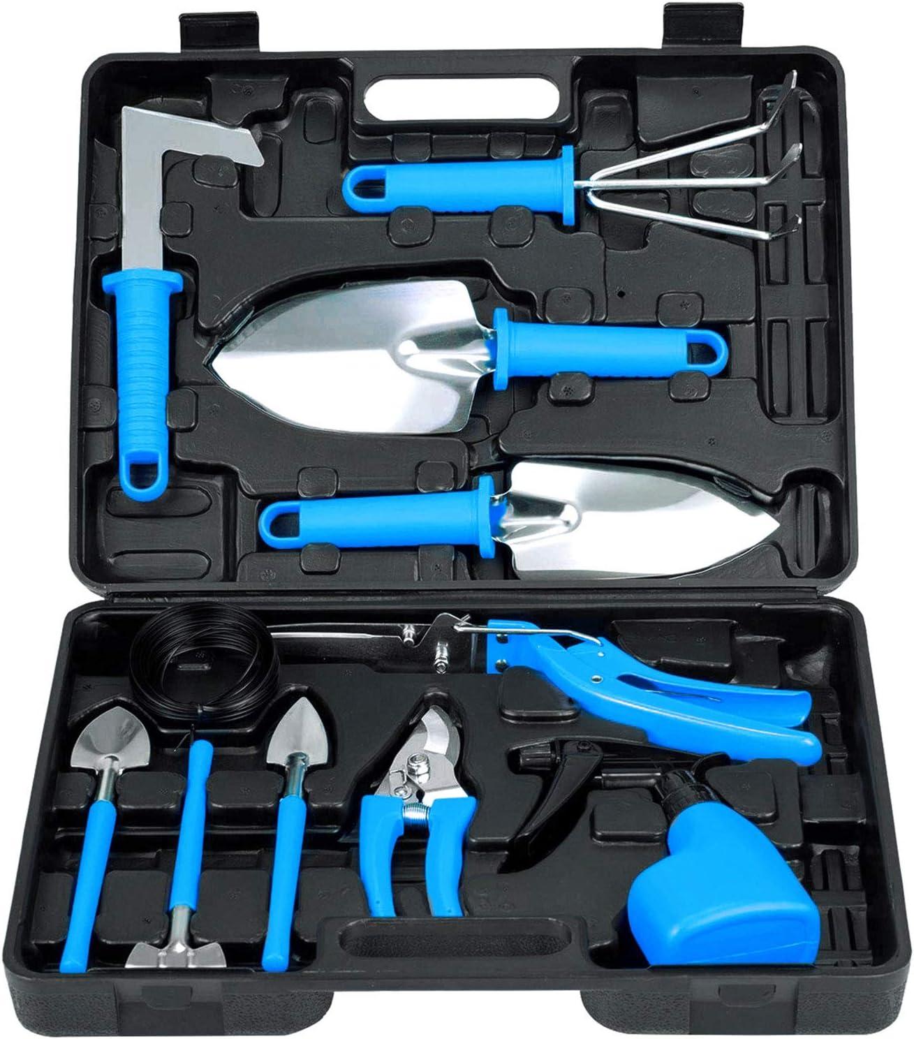 Lelekey Garden Tool Set, 12 Piece Stainless Steel Hand Tool Kit with Shovel Rake Weeder Pruner Shear Sprayer & Carrying Case, Gardening for Men,Women Gardener & Plant Lover (Blue)