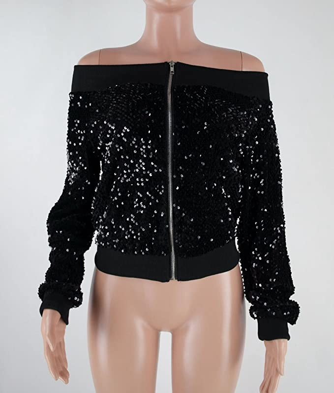 Womens Off Shoulder Sequin Jacket Coat Outwear Sexy Party Clubwear at Amazon Womens Coats Shop
